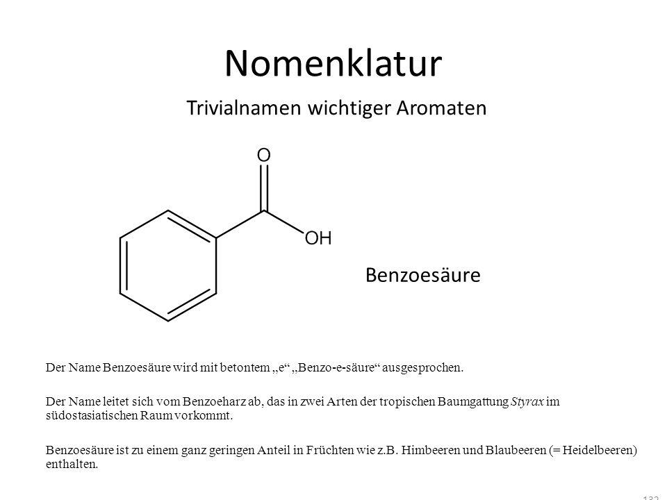 Nomenklatur Trivialnamen wichtiger Aromaten Benzoesäure