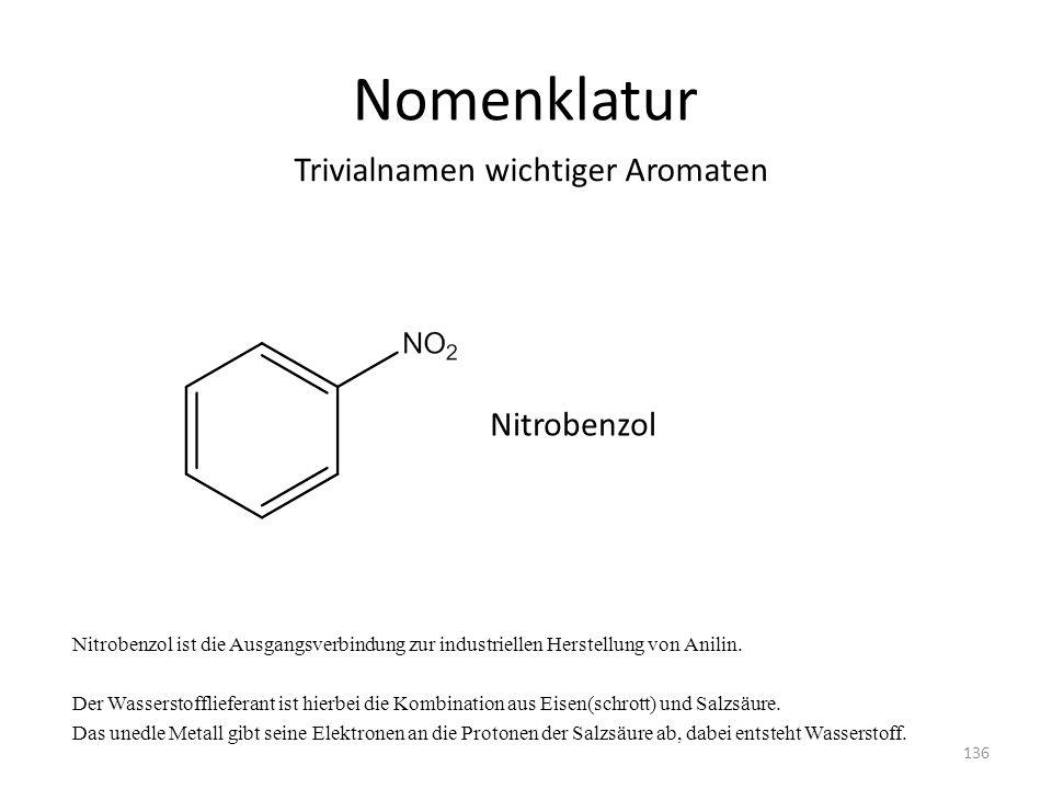 Nomenklatur Trivialnamen wichtiger Aromaten Nitrobenzol