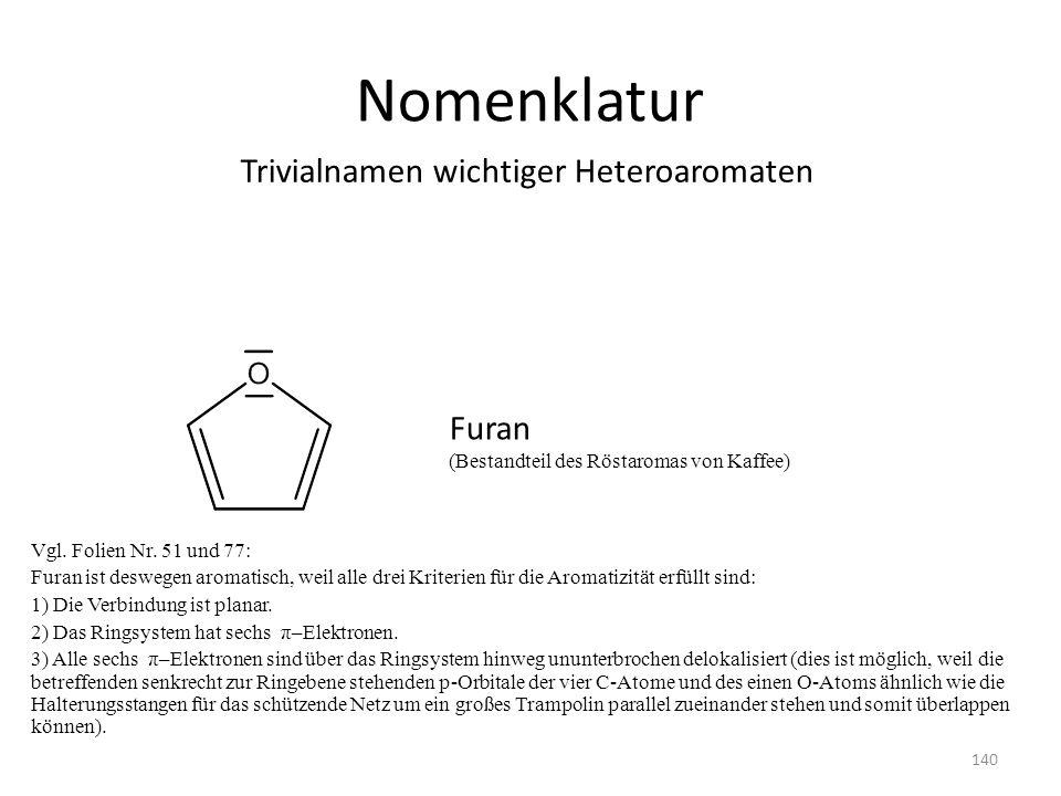 Nomenklatur Trivialnamen wichtiger Heteroaromaten Furan