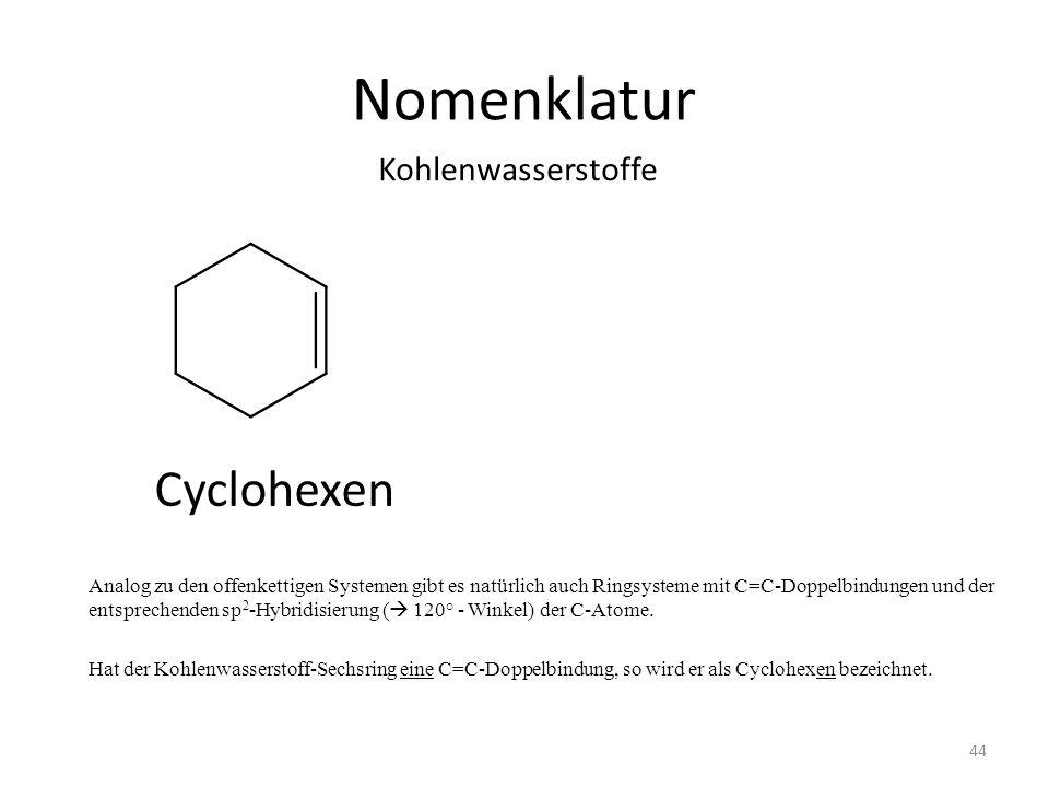 Nomenklatur Cyclohexen Kohlenwasserstoffe