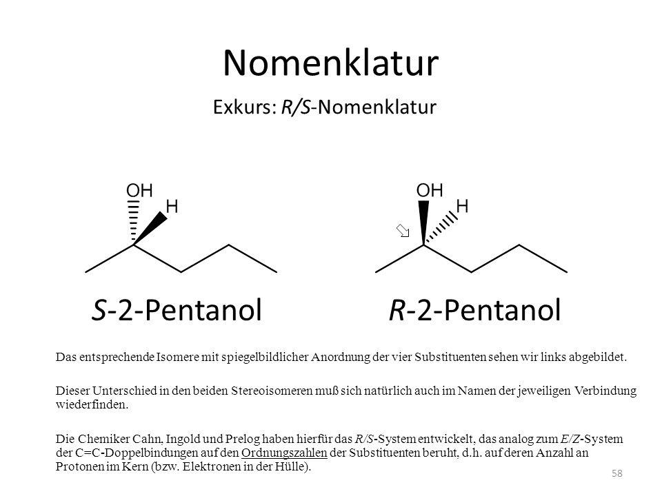 Nomenklatur S-2-Pentanol R-2-Pentanol Exkurs: R/S-Nomenklatur