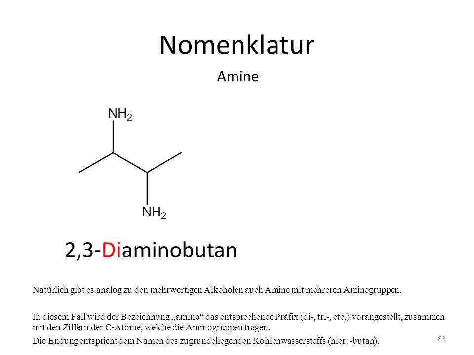 Nomenklatur 2,3-Diaminobutan Amine