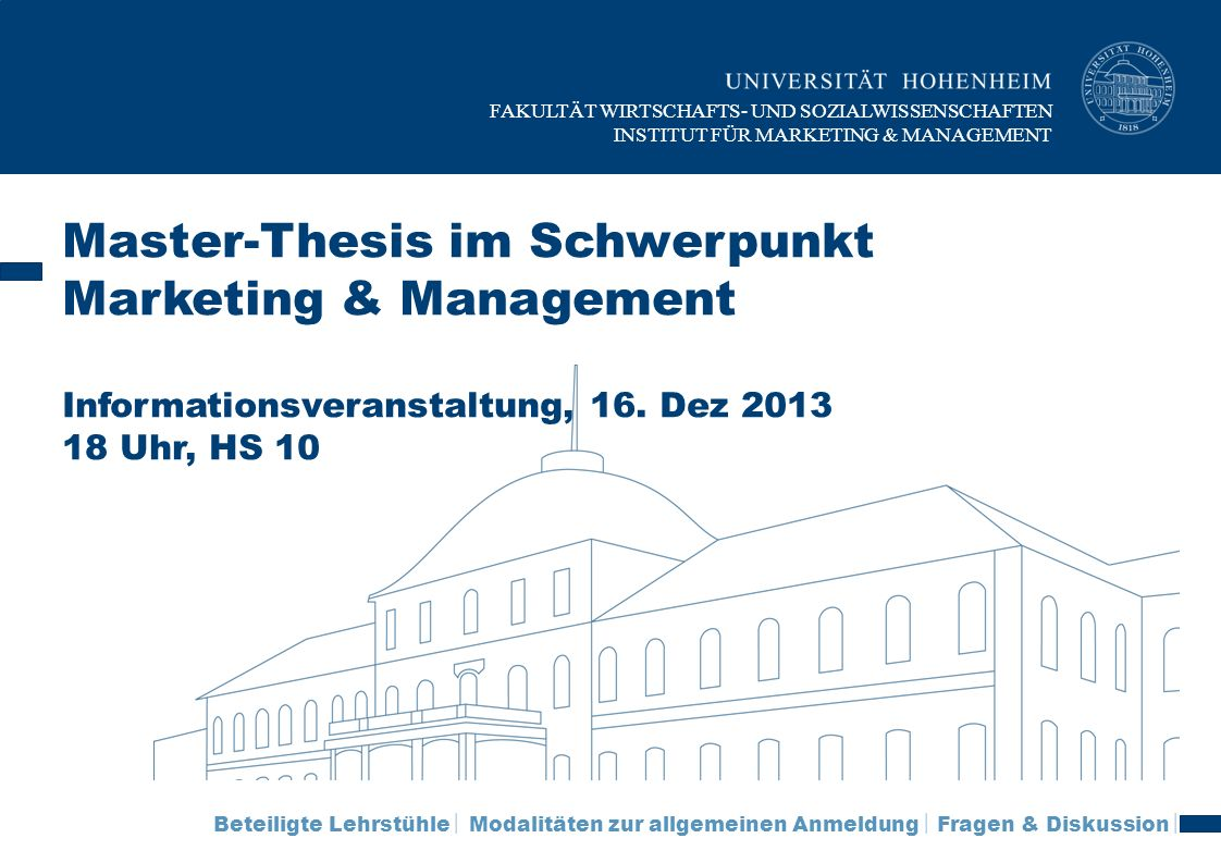 Master-Thesis im Schwerpunkt Marketing & Management