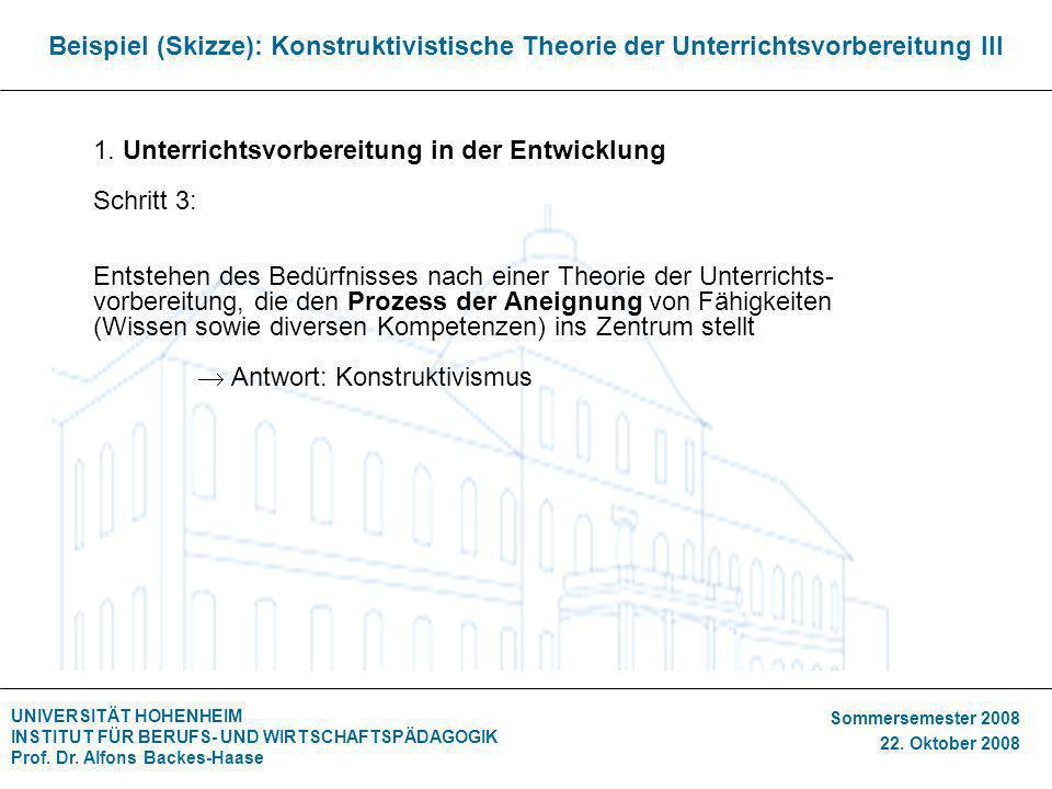 Beispiel (Skizze): Konstruktivistische Theorie der Unterrichtsvorbereitung III