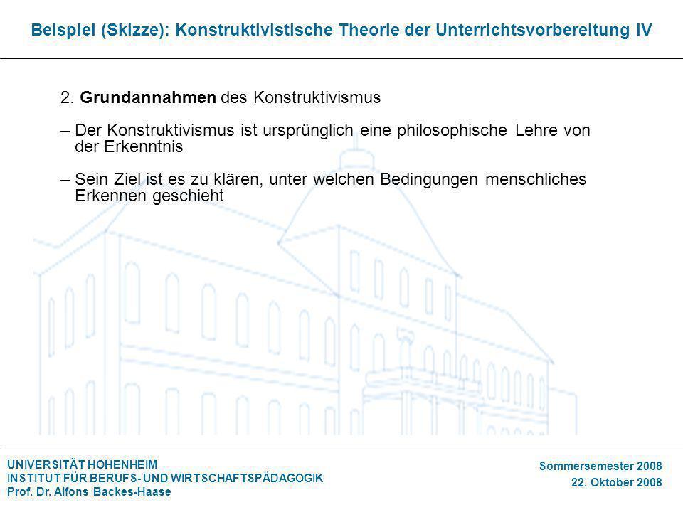 Beispiel (Skizze): Konstruktivistische Theorie der Unterrichtsvorbereitung IV