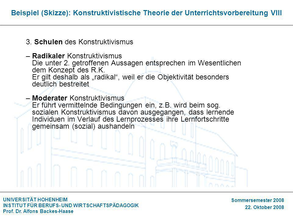 Beispiel (Skizze): Konstruktivistische Theorie der Unterrichtsvorbereitung VIII