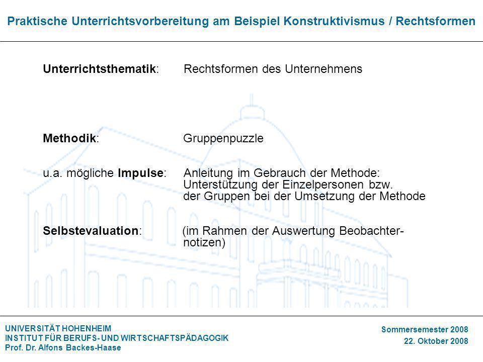 Praktische Unterrichtsvorbereitung am Beispiel Konstruktivismus / Rechtsformen