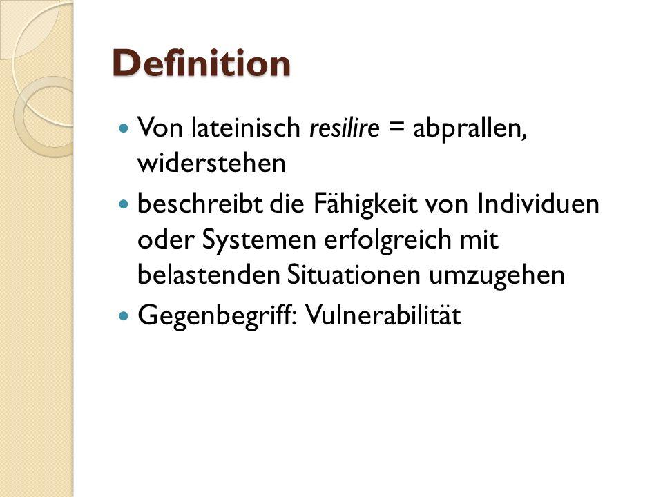 Definition Von lateinisch resilire = abprallen, widerstehen