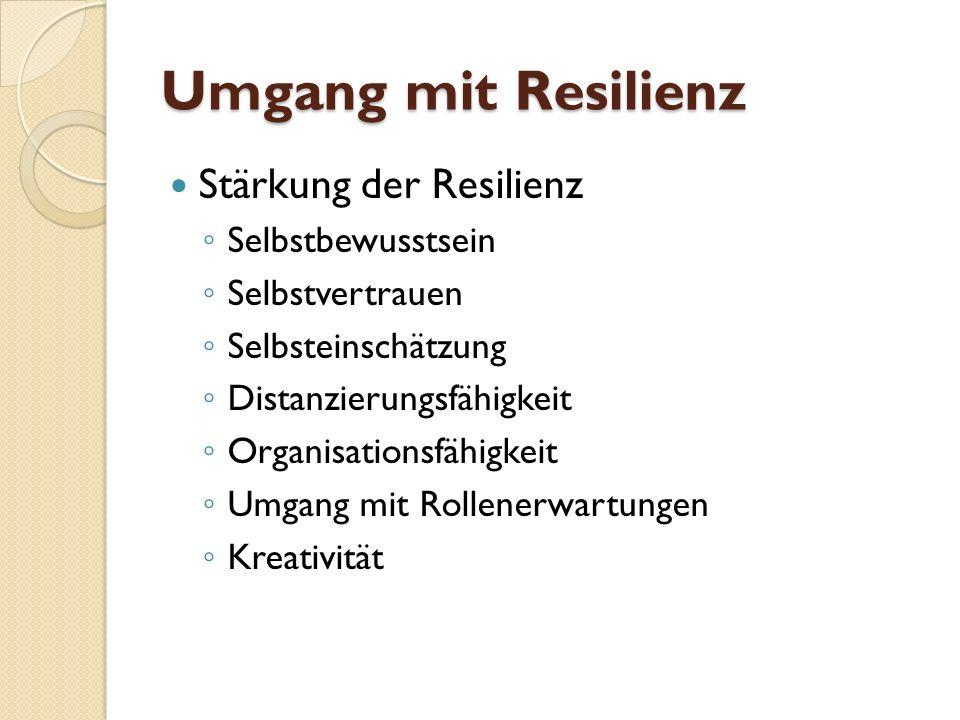 Umgang mit Resilienz Stärkung der Resilienz Selbstbewusstsein