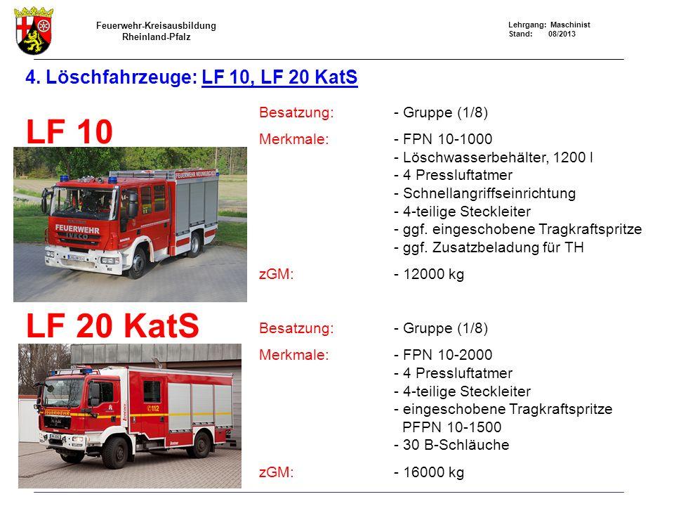 4. Löschfahrzeuge: LF 10, LF 20 KatS
