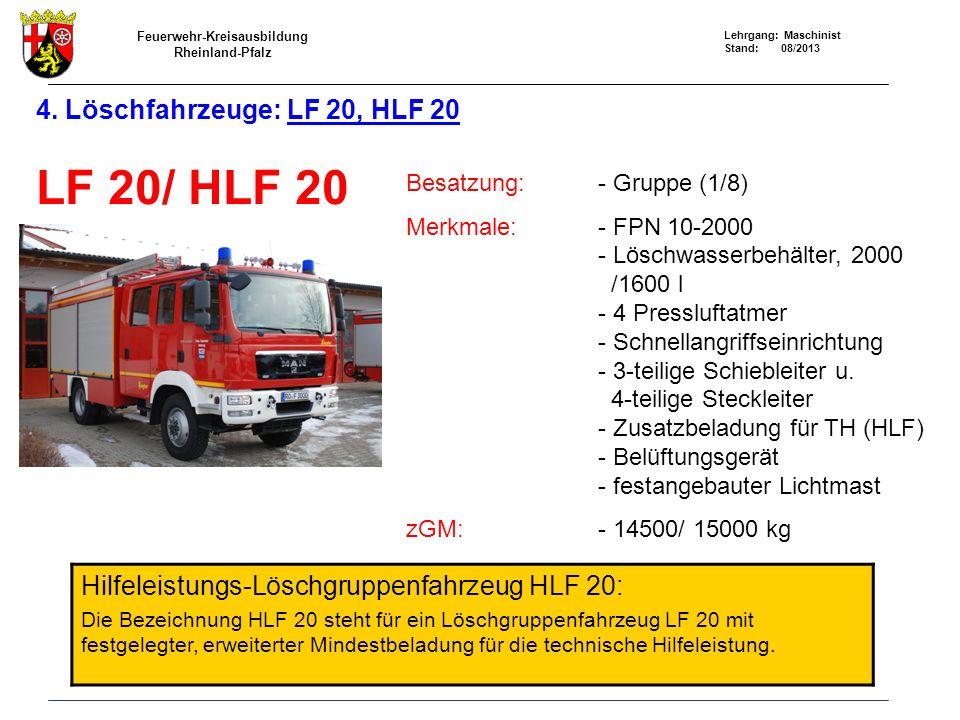 4. Löschfahrzeuge: LF 20, HLF 20