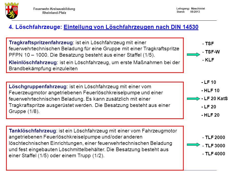 4. Löschfahrzeuge: Einteilung von Löschfahrzeugen nach DIN 14530