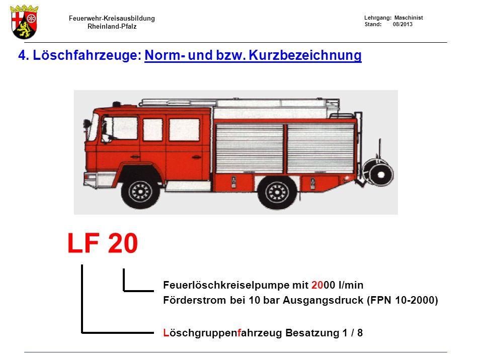 4. Löschfahrzeuge: Norm- und bzw. Kurzbezeichnung