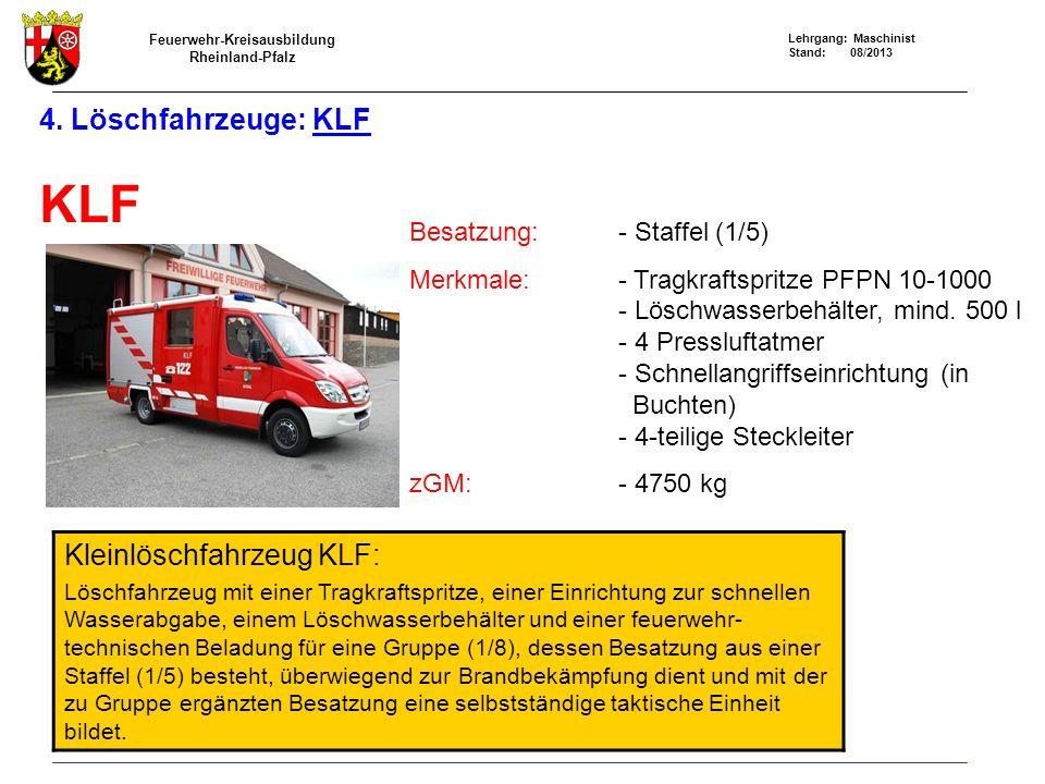 KLF 4. Löschfahrzeuge: KLF Kleinlöschfahrzeug KLF: