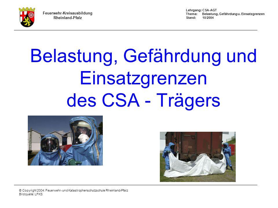 Belastung, Gefährdung und Einsatzgrenzen des CSA - Trägers