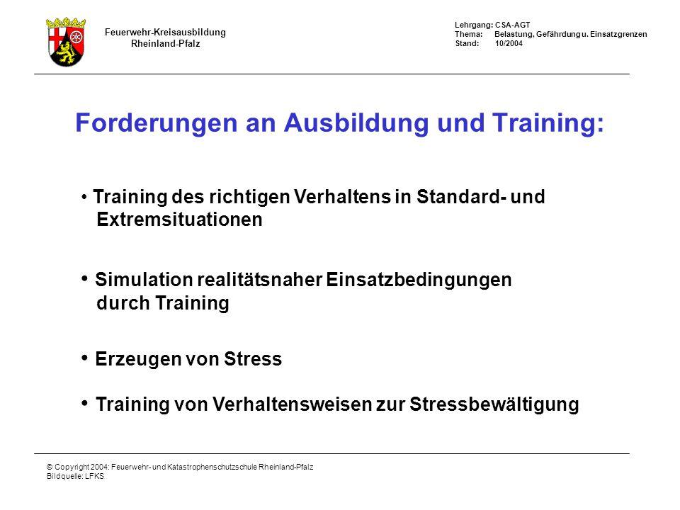 Forderungen an Ausbildung und Training: