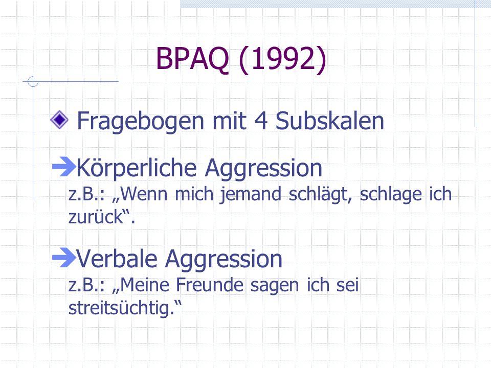 BPAQ (1992) Fragebogen mit 4 Subskalen