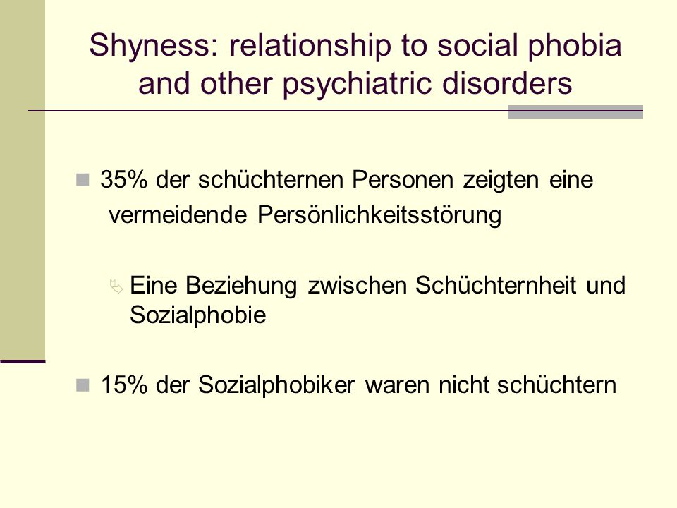 Shyness: relationship to social phobia and other psychiatric disorders