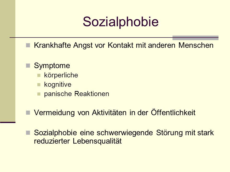 Sozialphobie Krankhafte Angst vor Kontakt mit anderen Menschen