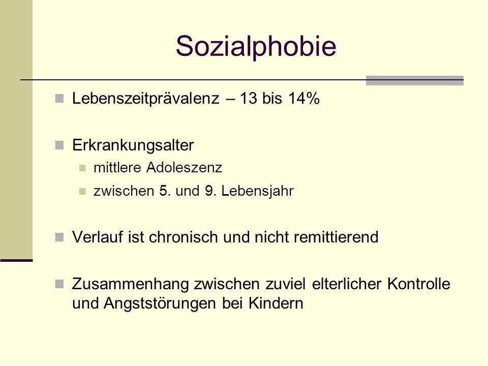 Sozialphobie Lebenszeitprävalenz – 13 bis 14% Erkrankungsalter