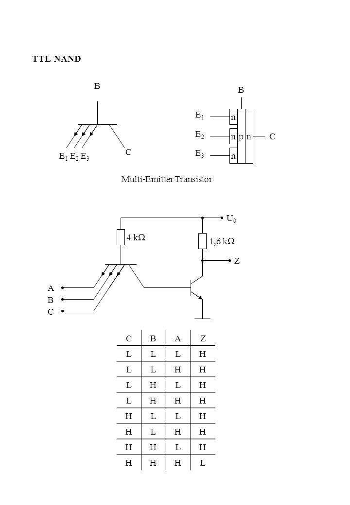 TTL-NAND B. B. E1. E2. E3. n. p. n. n. C. C. E1 E2 E3. n. Multi-Emitter Transistor. U0.