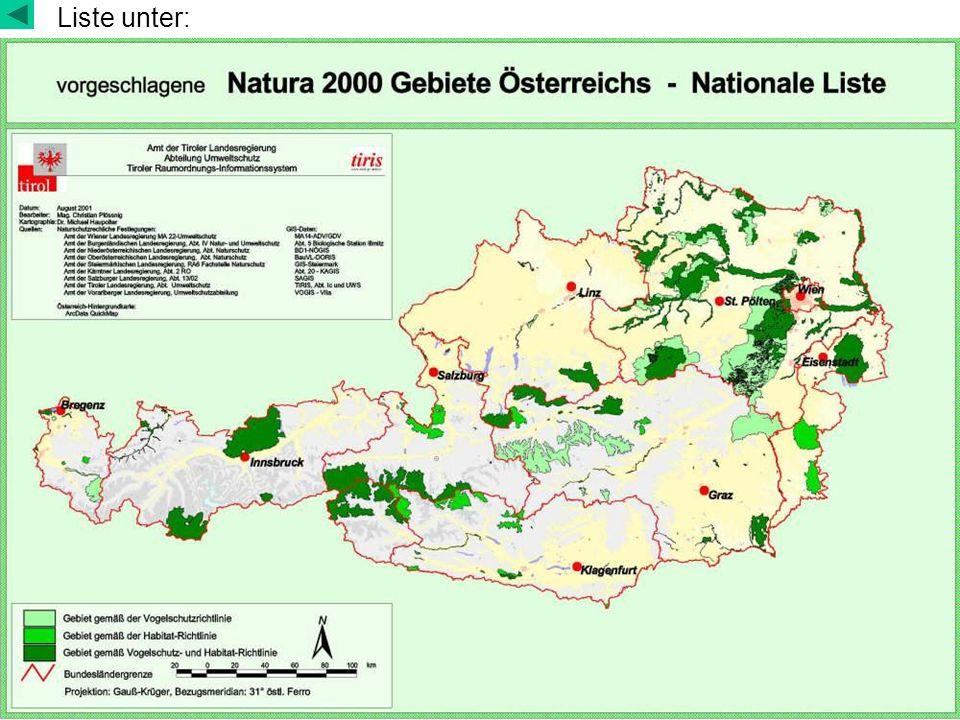 Gebietsauswahl von Schutzgebieten