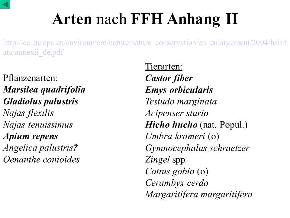 Arten nach FFH Anhang II