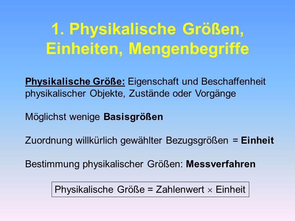 1. Physikalische Größen, Einheiten, Mengenbegriffe