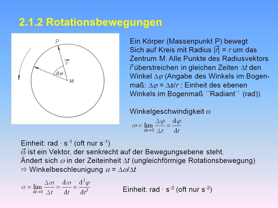 2.1.2 Rotationsbewegungen Ein Körper (Massenpunkt P) bewegt