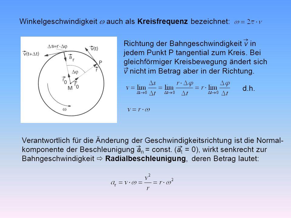 Winkelgeschwindigkeit  auch als Kreisfrequenz bezeichnet: