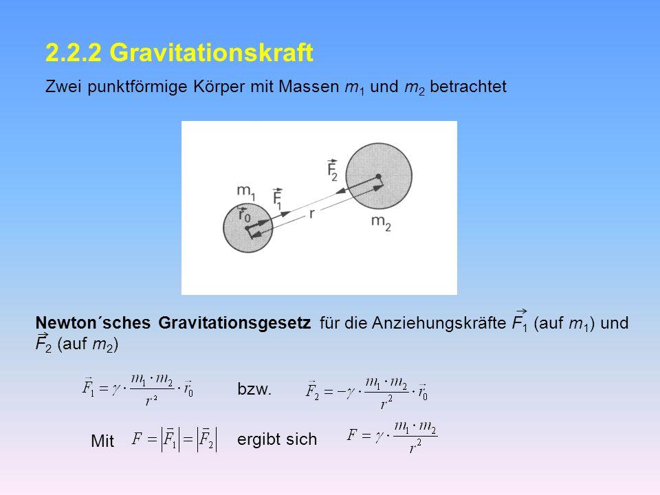 2.2.2 Gravitationskraft Zwei punktförmige Körper mit Massen m1 und m2 betrachtet.