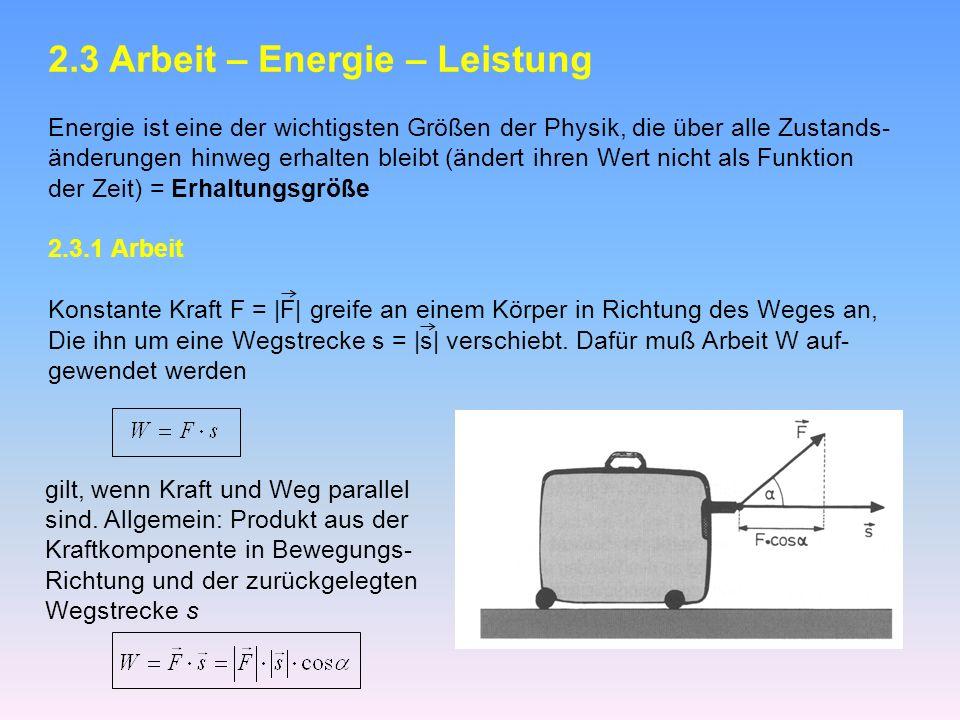 2.3 Arbeit – Energie – Leistung