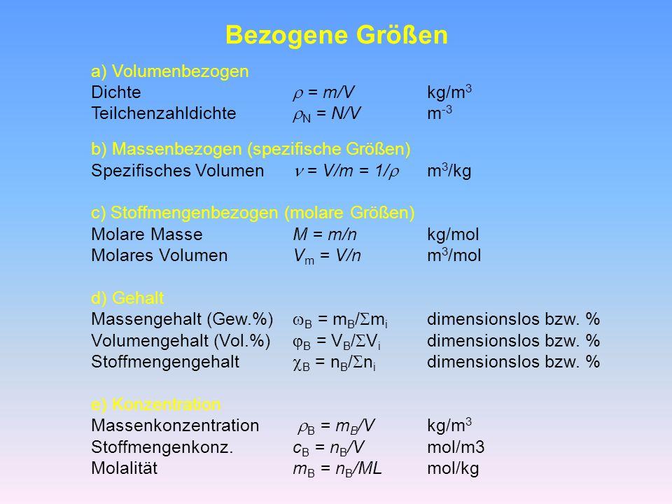 Bezogene Größen a) Volumenbezogen Dichte  = m/V kg/m3