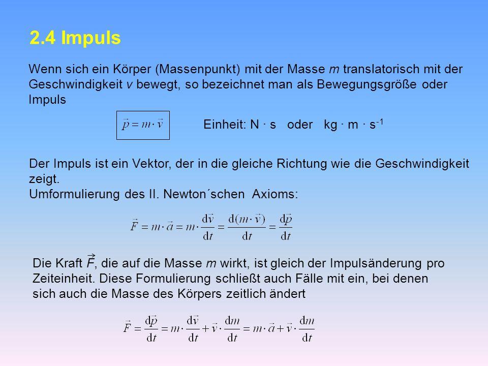 2.4 Impuls Wenn sich ein Körper (Massenpunkt) mit der Masse m translatorisch mit der.
