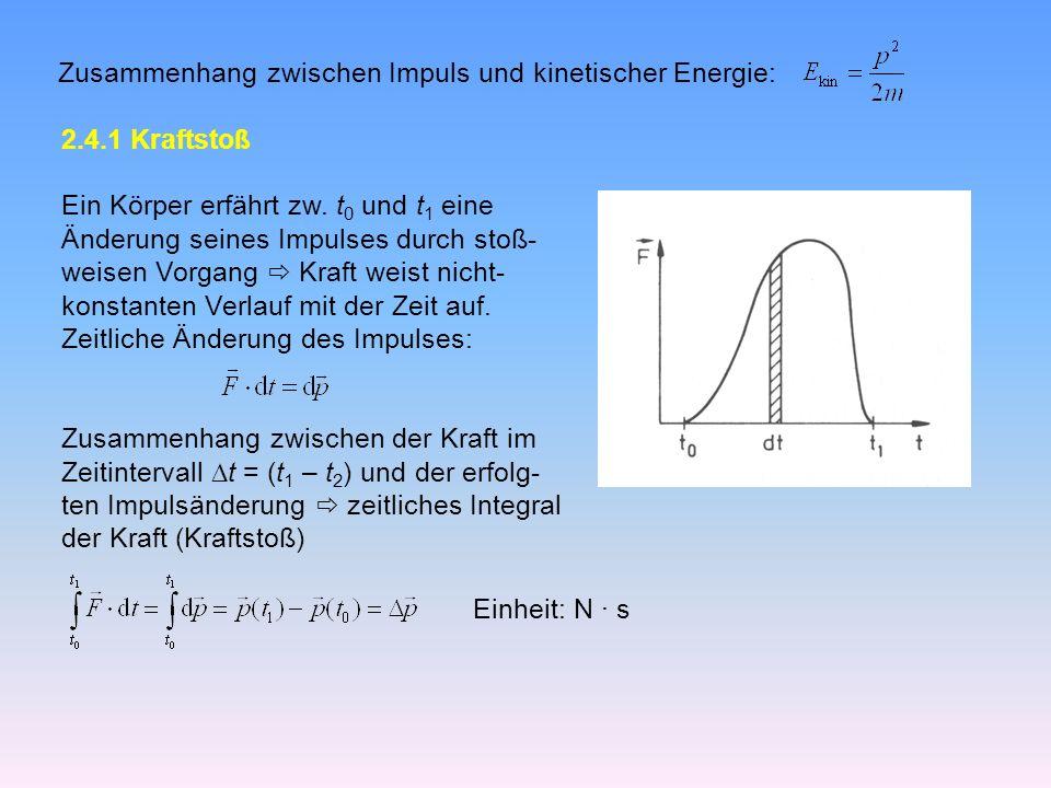 Zusammenhang zwischen Impuls und kinetischer Energie: