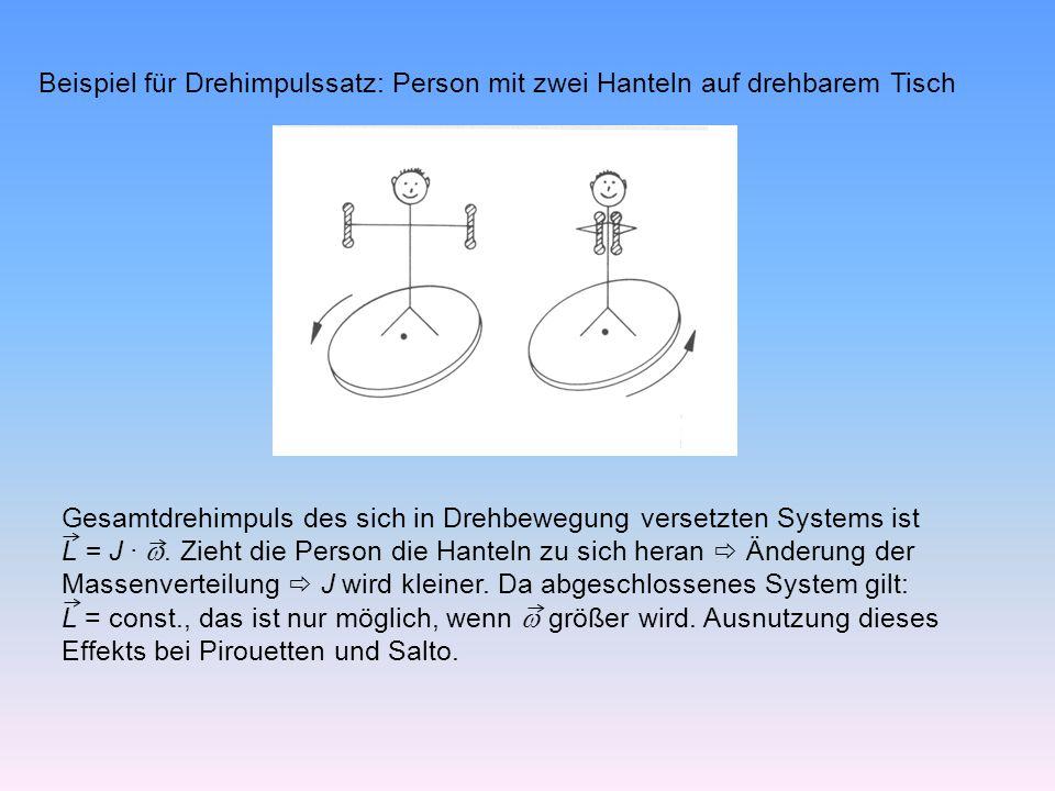 Beispiel für Drehimpulssatz: Person mit zwei Hanteln auf drehbarem Tisch