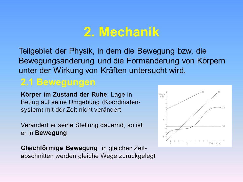 2. Mechanik Teilgebiet der Physik, in dem die Bewegung bzw. die. Bewegungsänderung und die Formänderung von Körpern.