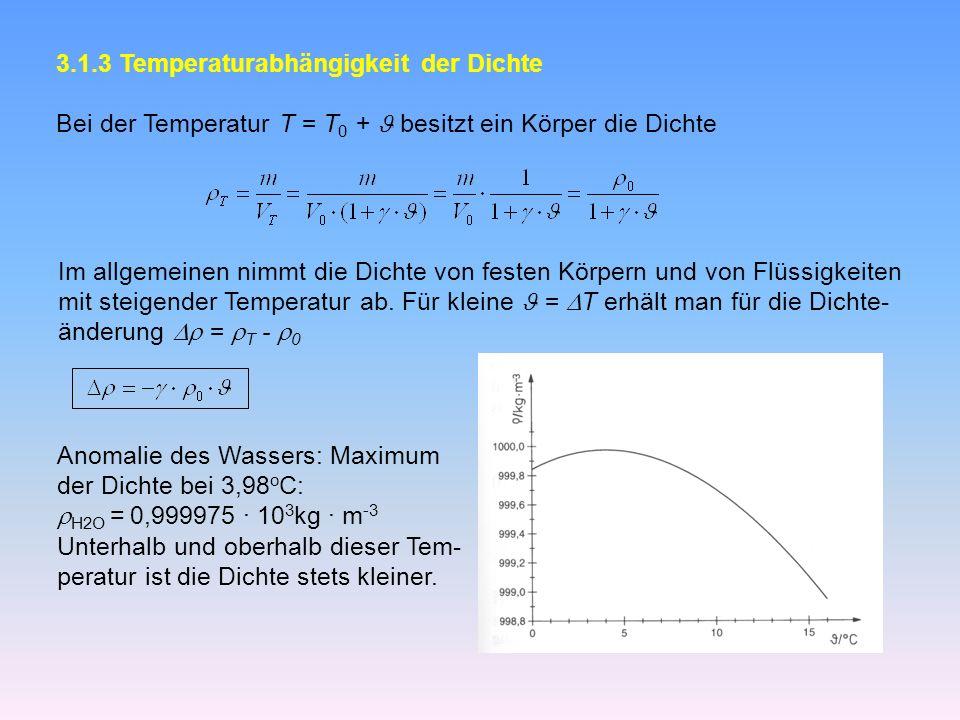 3.1.3 Temperaturabhängigkeit der Dichte