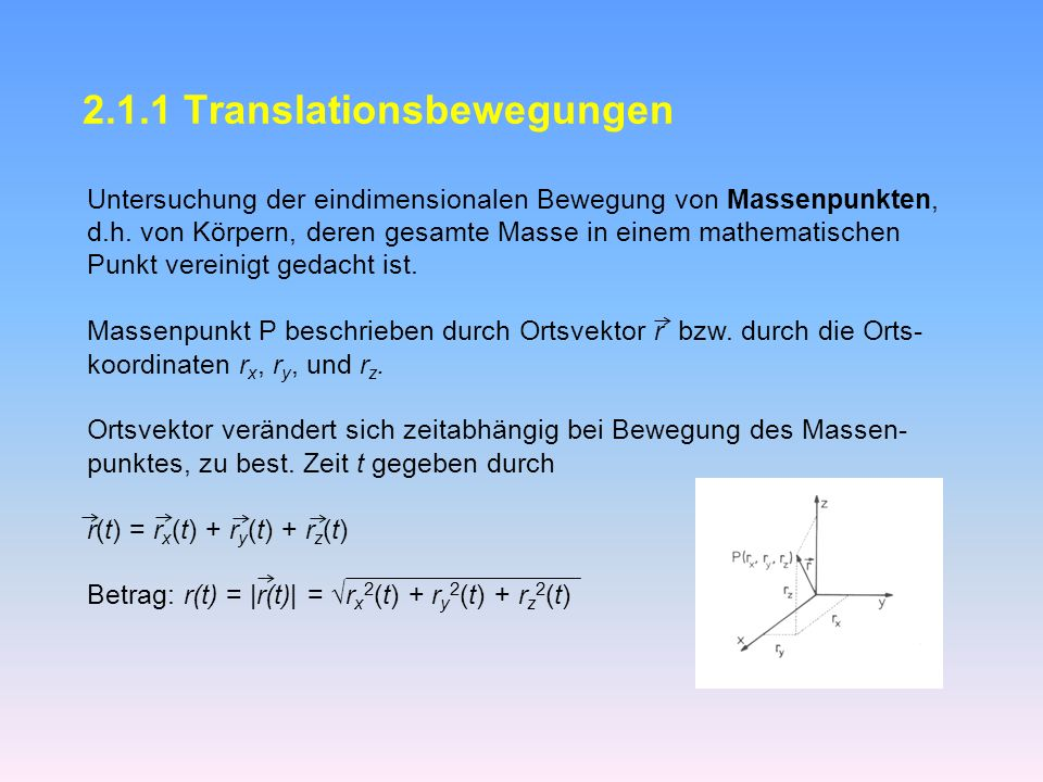 2.1.1 Translationsbewegungen