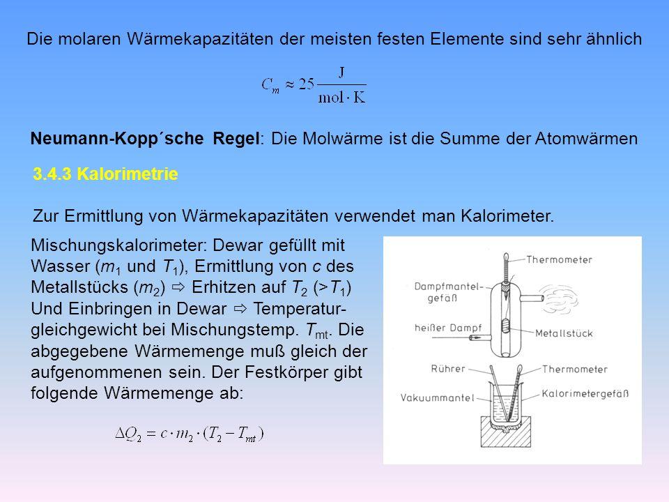 Die molaren Wärmekapazitäten der meisten festen Elemente sind sehr ähnlich