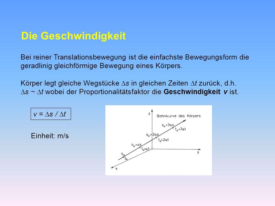 Die Geschwindigkeit Bei reiner Translationsbewegung ist die einfachste Bewegungsform die. geradlinig gleichförmige Bewegung eines Körpers.