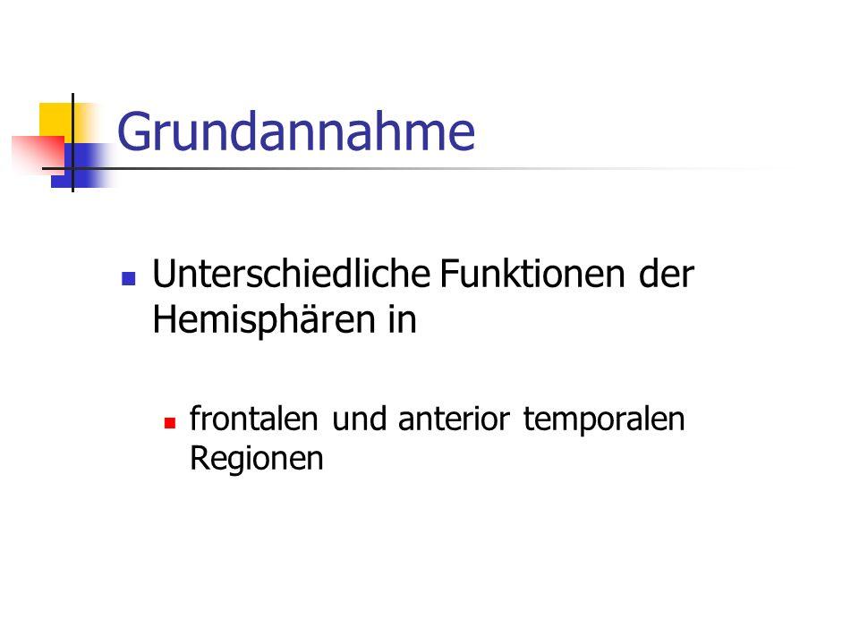 Grundannahme Unterschiedliche Funktionen der Hemisphären in