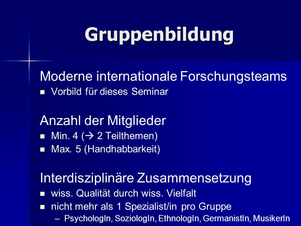 Gruppenbildung Moderne internationale Forschungsteams