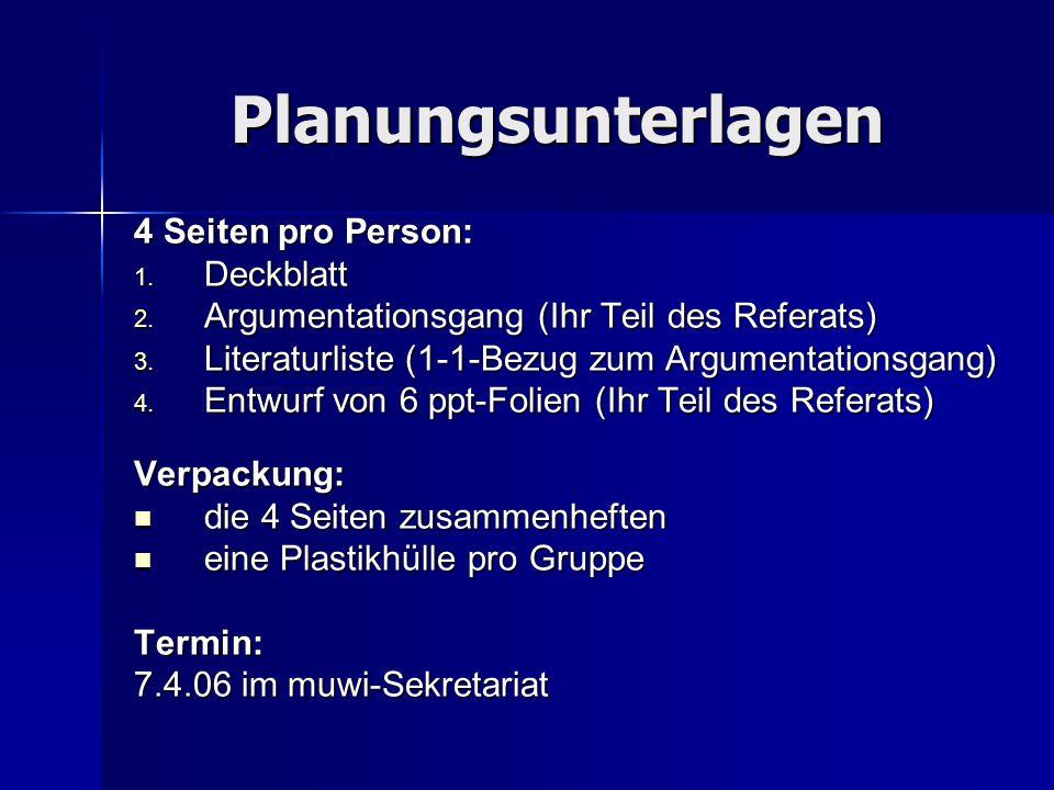 Planungsunterlagen 4 Seiten pro Person: Deckblatt