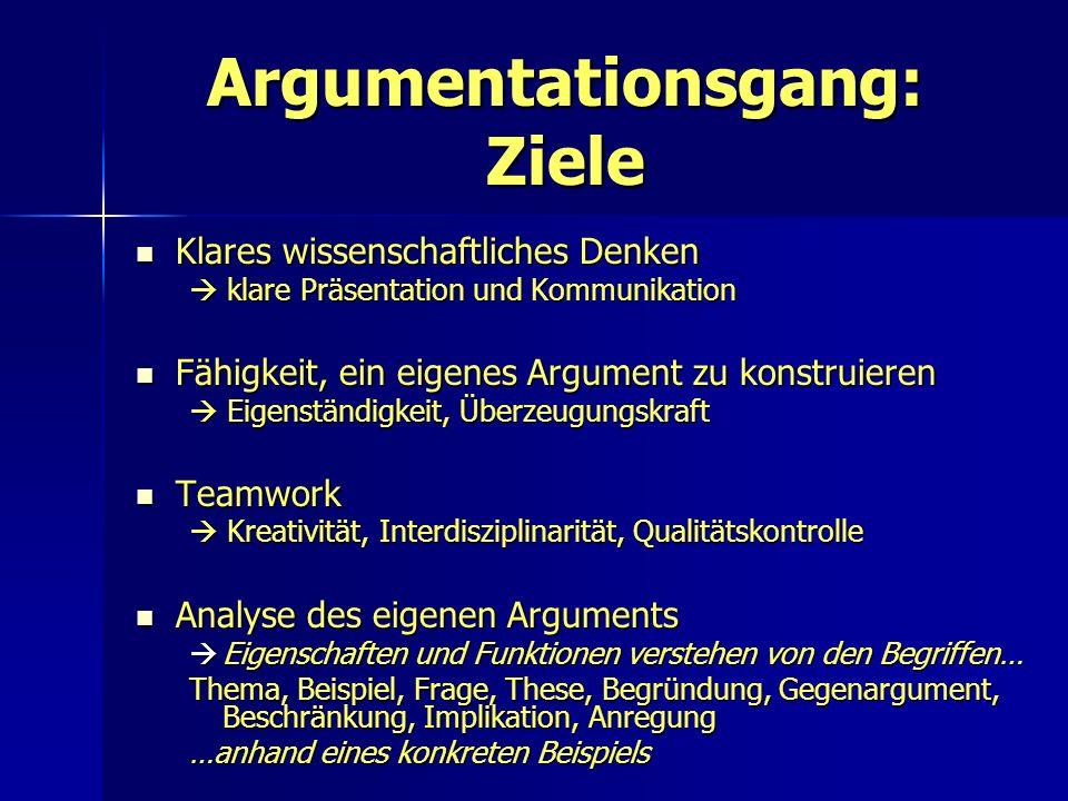 Argumentationsgang: Ziele