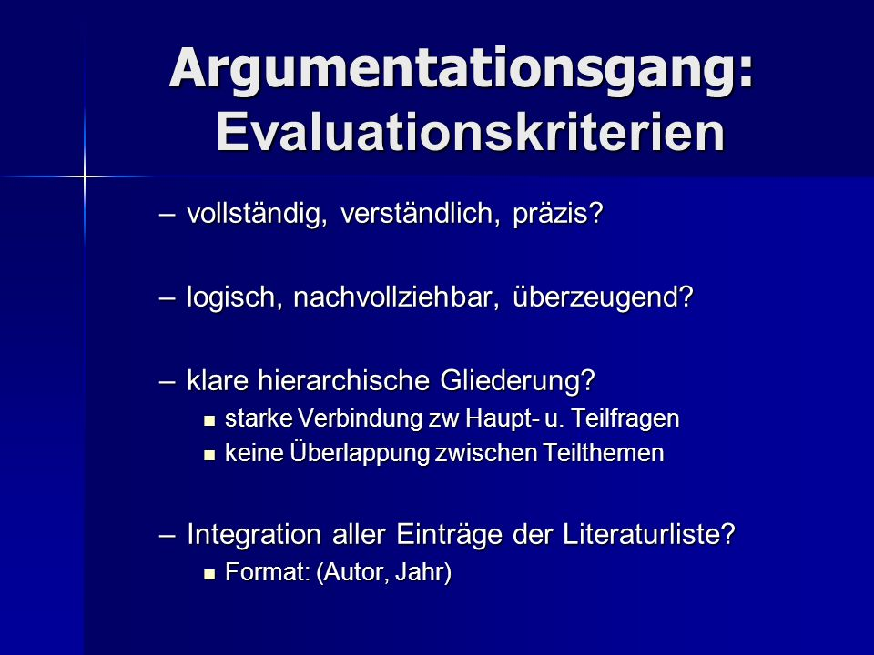 Argumentationsgang: Evaluationskriterien