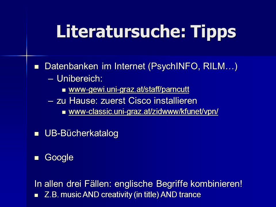Literatursuche: Tipps
