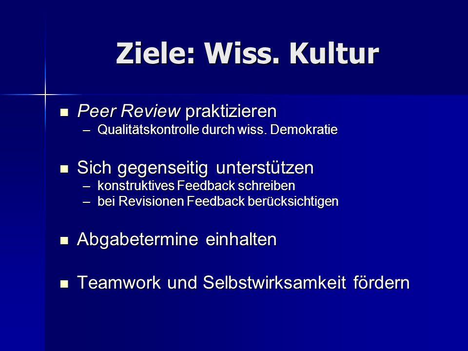 Ziele: Wiss. Kultur Peer Review praktizieren