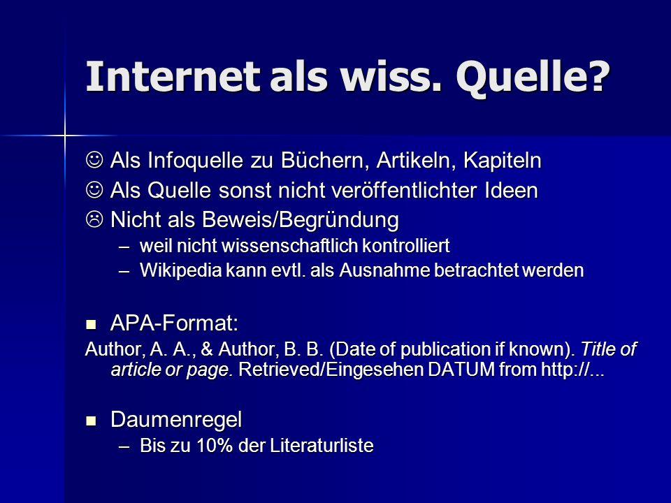 Internet als wiss. Quelle