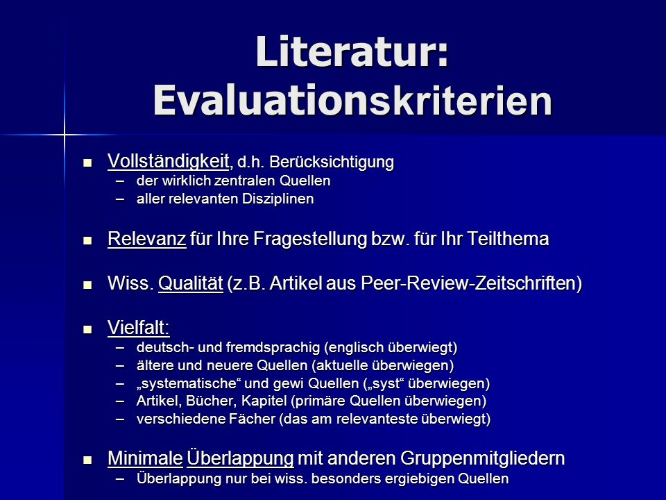 Literatur: Evaluationskriterien